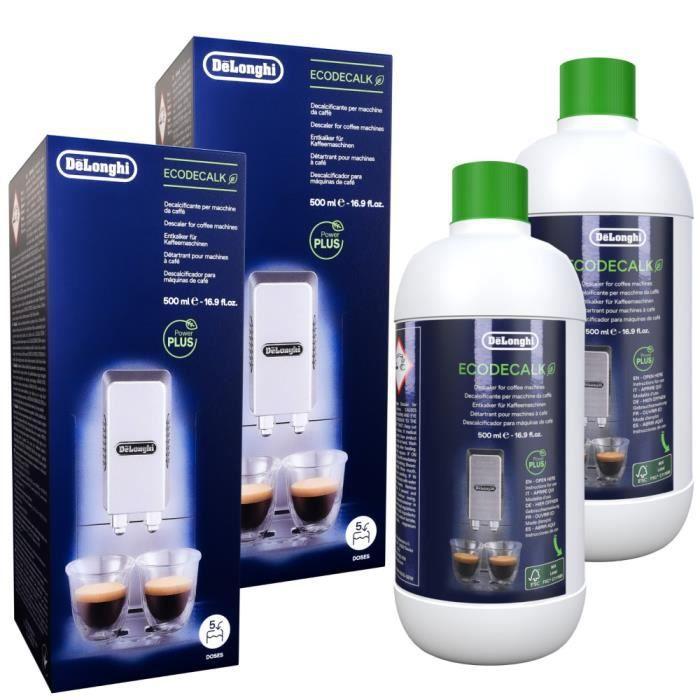2x Delonghi Detartrant ecoloqique 500ml, accessoires pour cafetiere DeLonghi Pixie EN 125.L