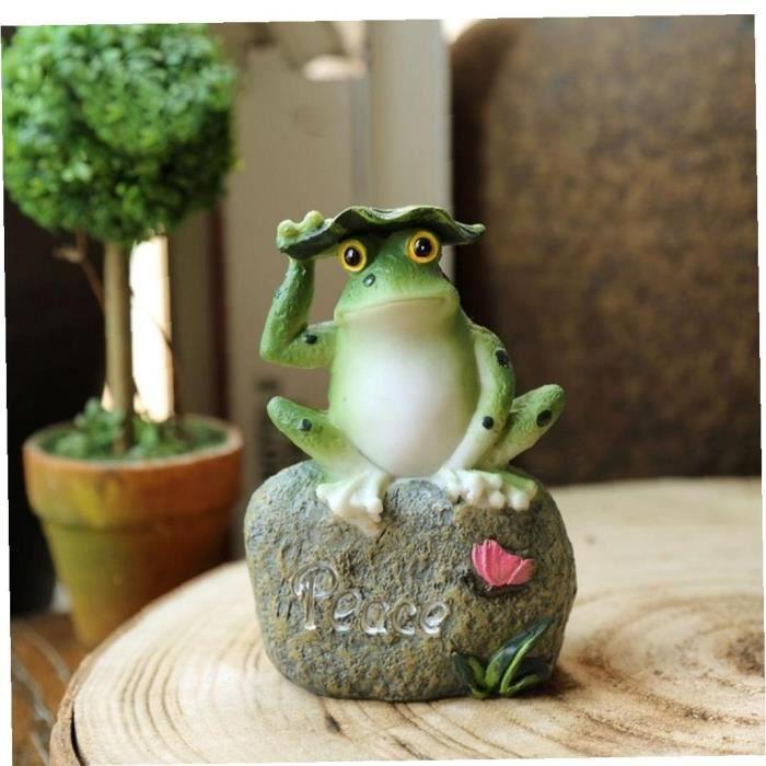 Miniatures grenouilles Figurines Profitez de la paix Espoir Lettre décor de jardin Statue d'extérieur Patio Ornements de jardin Dé