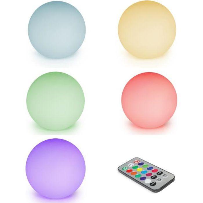 ID MARKET - Lot de 5 lampes boules LED solaires multicolores avec télécommande