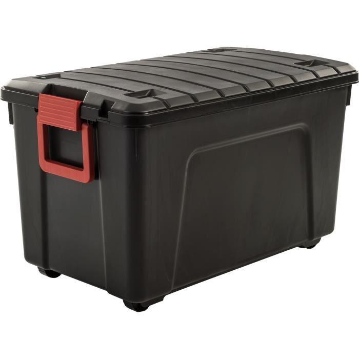 IRIS OHYAMA Lot de 2 boites de rangement bricolage - Store It All - 110 L - Noir et rouge - 75 x 44,5 x 44,5 cm
