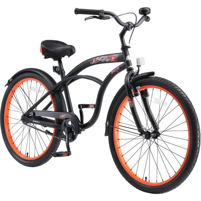 Vélo enfant évolutive 24 pouces - BIKESTAR - pour garcon et filles de 10-13 ans - Edition Cruiser - Noir