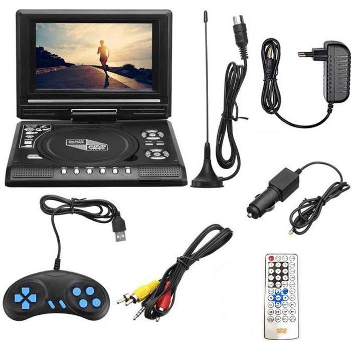 Téléviseur multifonction - FM - USB - 7,8 pouces HD TV Lecteur DVD portable Lecteur CD portable HD Lecteur multimédia, noir