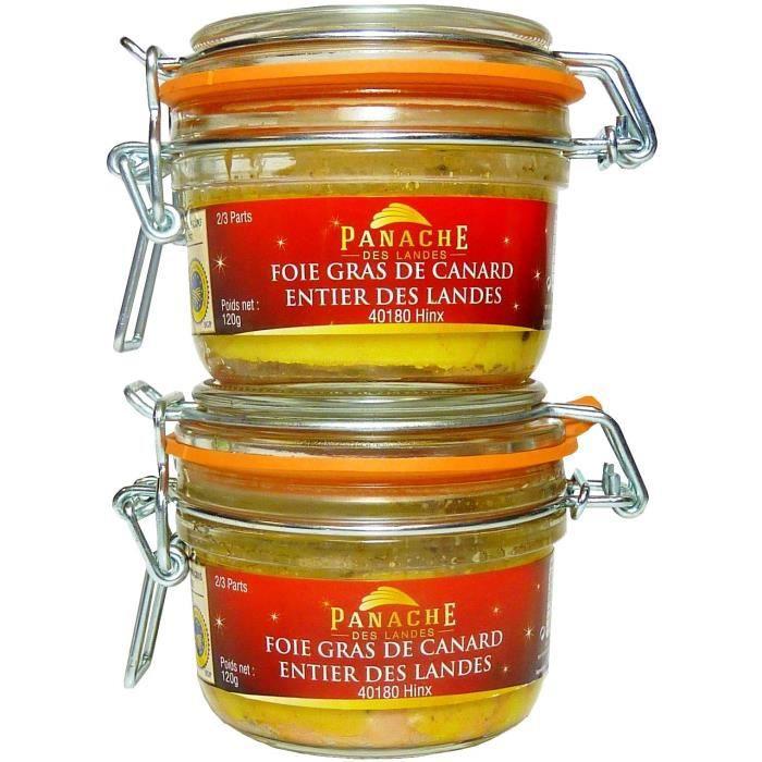 PANACHE DES LANDES Lot de 2 Foie gras de canard entier IGP - Bocal de 120 g