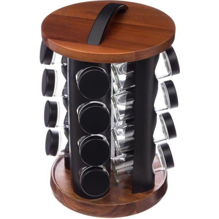 Secret de Gourmet - Lot 16 de pots à épices sur support rotatif en ACACIA D, 20 x H, 31,5 cm Noir