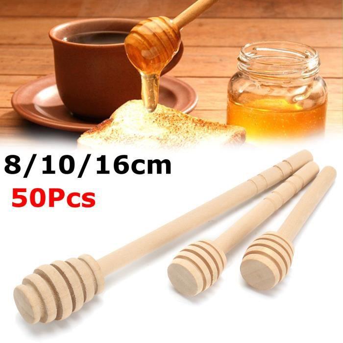 TEMPSA 50X Bâton à Miel Cuillère Stick Honey Bois Louche Mélange Café Remuer 8CM