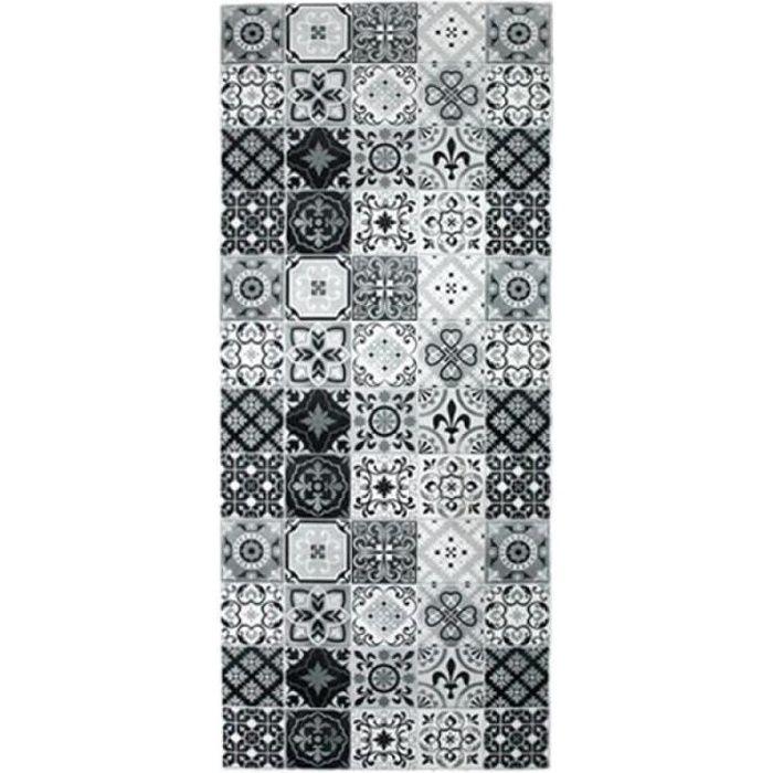 CARREAUX DE CIMENT - Tapis imprimé carreaux de ciment noir et blanc 50x120
