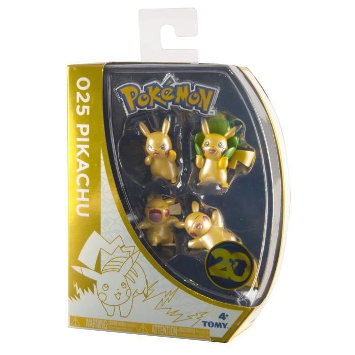 TOMY T18727 - Coffret exclusif - 20 ans - 4 figurines de Pikachu