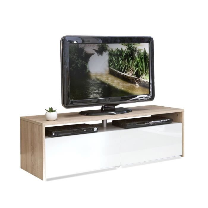 longo meuble tv coloris blanc et ch ne 2 tiroirs achat vente meuble tv longo meuble tv. Black Bedroom Furniture Sets. Home Design Ideas