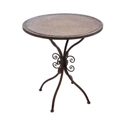 Table ronde en fer forg marron achat vente table a for Table en fer exterieur