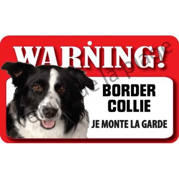 plaque attention au chien border collie achat vente plaque de porte cdiscount. Black Bedroom Furniture Sets. Home Design Ideas