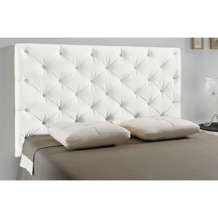 t te de lit capitonn diamond couleur blanc mesure lit de 140 cm de large achat vente. Black Bedroom Furniture Sets. Home Design Ideas