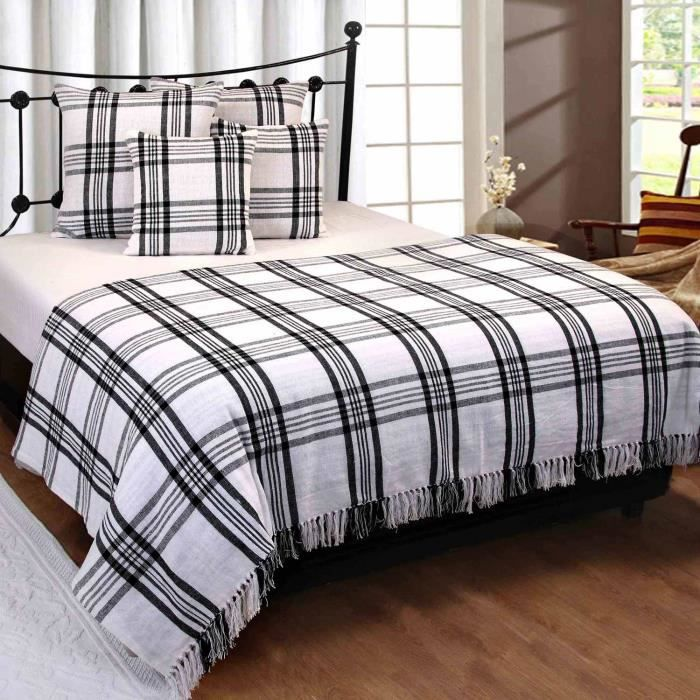 jet de lit ou de canap tartan noir et blanc 250 x 360 cm achat vente jet e de lit boutis. Black Bedroom Furniture Sets. Home Design Ideas