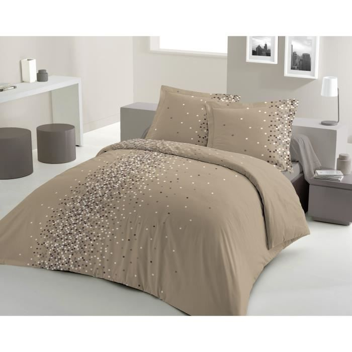 parure de lit 2 places design pois gris et taupe. Black Bedroom Furniture Sets. Home Design Ideas