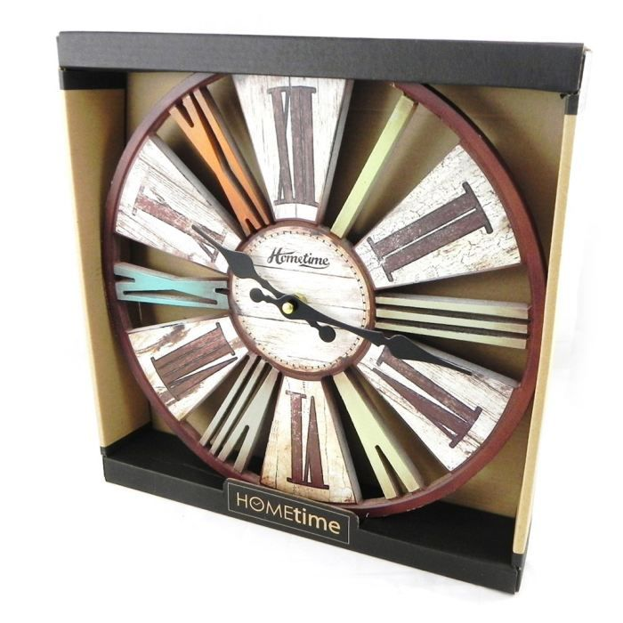 Horloge murale wintage design marron multicolore achat for Horloge murale geante design