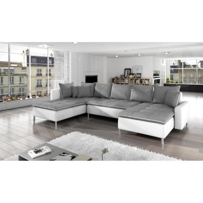 canap panoramique dante tissu gris simili cuir blanc. Black Bedroom Furniture Sets. Home Design Ideas