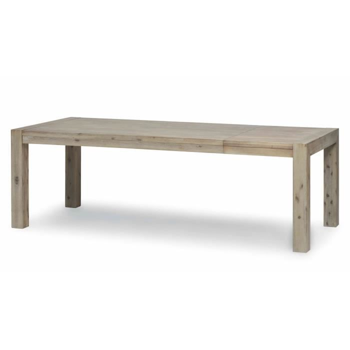 Natae table de salle manger rectangle avec rallonge en for Table de salle a manger 3 metres