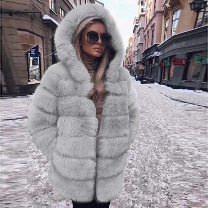 Femmes Mode Luxe Manteau en fausse fourrure à capuchon Automne Hiver chaud Pardessus gris
