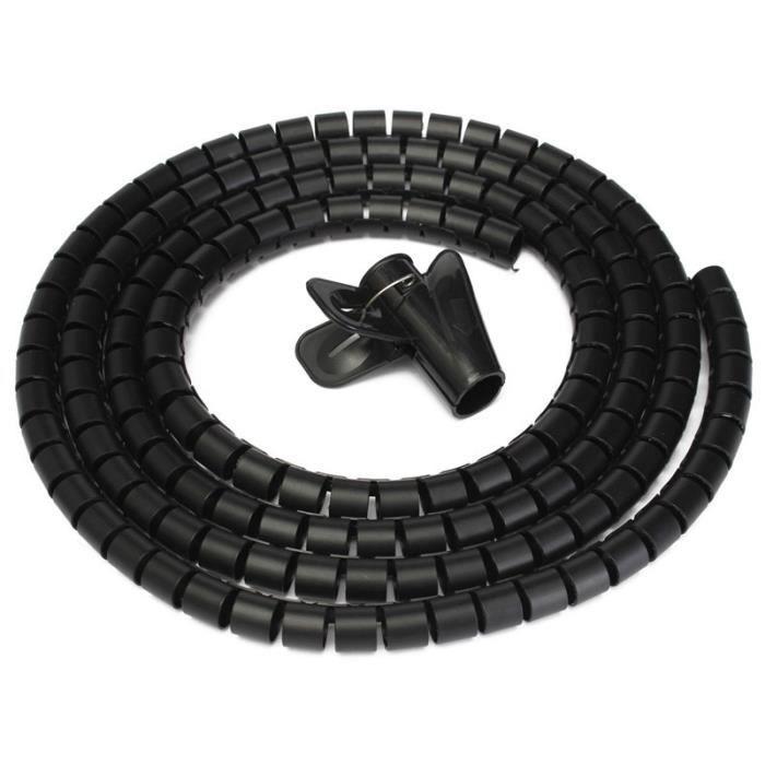 GOULOTTE - CACHE FIL Noir 2M Ø15mm Gaine Tube Spirale Range Cache Câble