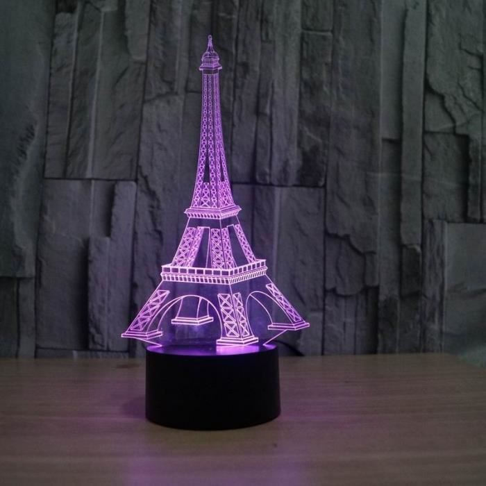 promo illusion 3d tour eiffel d coration de table led. Black Bedroom Furniture Sets. Home Design Ideas