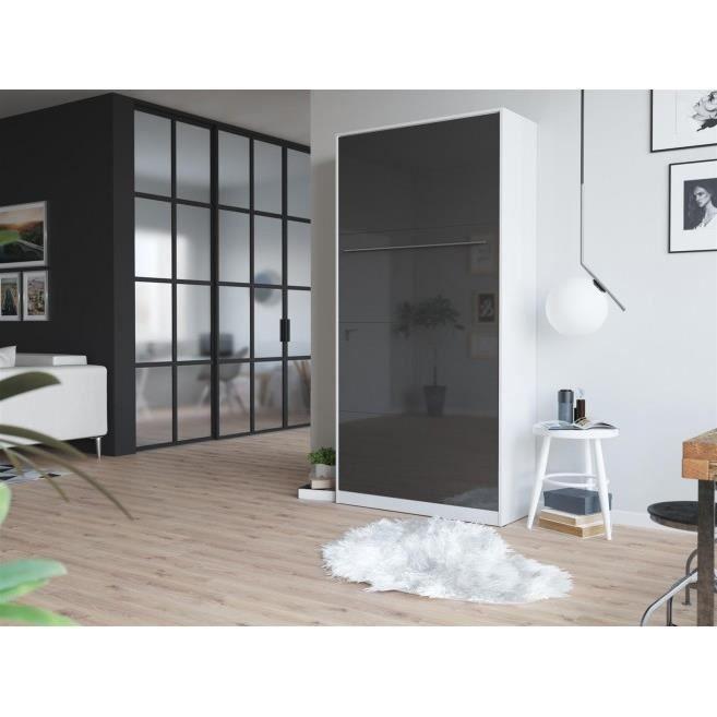 LIT ESCAMOTABLE SMARTBett Standard 90x200 vertical blanc/anthracit
