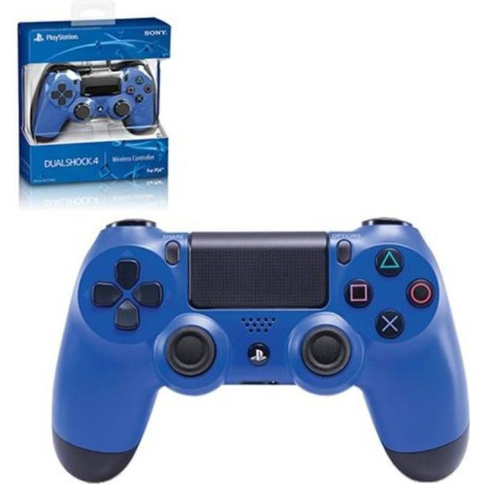 manette pad officiel sony playstation 4 ps4 dual shock 4 wireless sans fil bleu prix pas cher. Black Bedroom Furniture Sets. Home Design Ideas