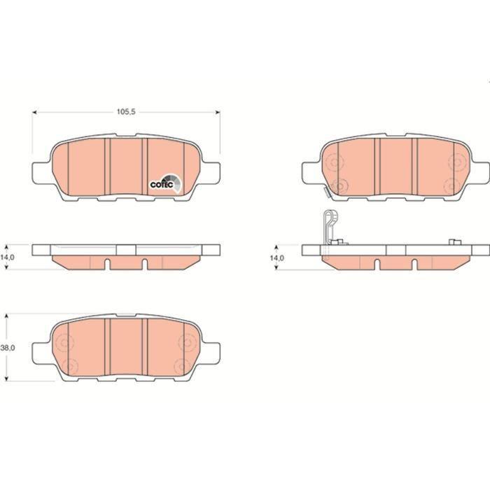 ORIGINAL TRW Plaquette de Frein Jeu plaquettes de frein arrière Nissan