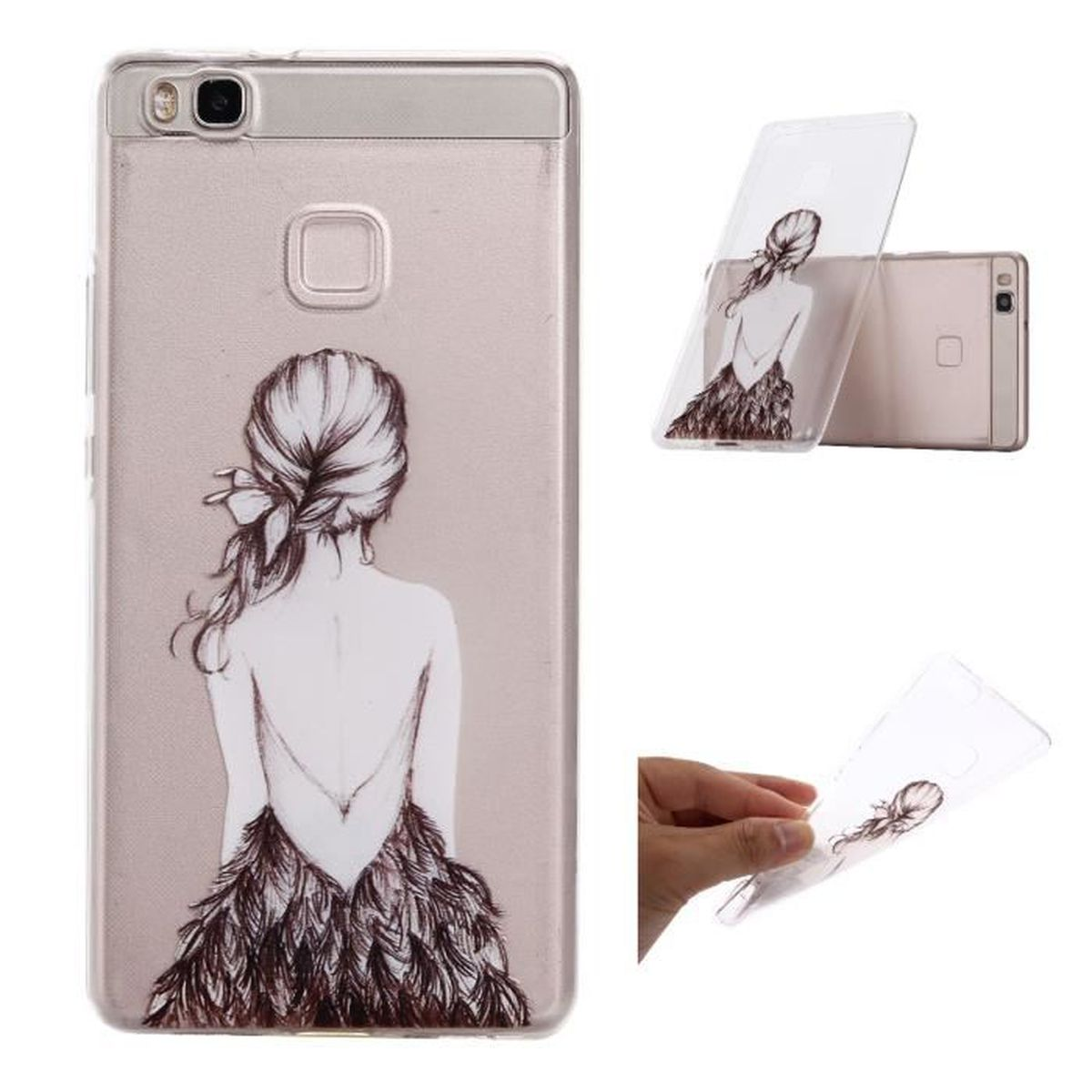 coque silicone huawei p10 lite plume