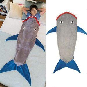 3/–13 ans Requin Queue Couverture Sir/ène Double Polaire Shark Confortable Chaud Dans Un Canap/é-Lit No/ël Cadeau Danniversaire pour Enfants Ados Sac De Couchage