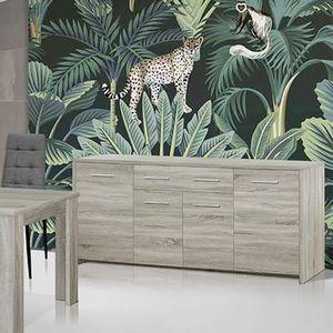 BUFFET - BAHUT  Enfilade 210 cm pas cher couleur chêne gris ENOA L