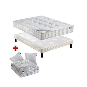 ENSEMBLE LITERIE PACK Epeda CAMBRURE 160x200 avec 2 sommiers Blanc