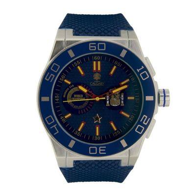 Calgary montres Espagne world Champion blue. Montre de sport homme Bracelet en caoutchouc Bleu bille Couleur bleu.
