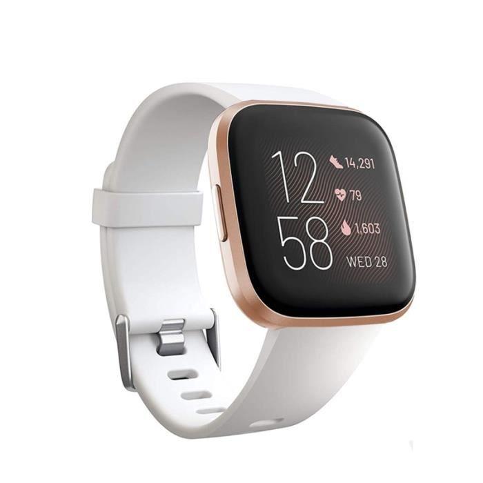 Montre connectée,Bracelet de remplacement pour Fitbit Versa 2 bandes sport bracelet de montre en Silicone souple - Type white-S