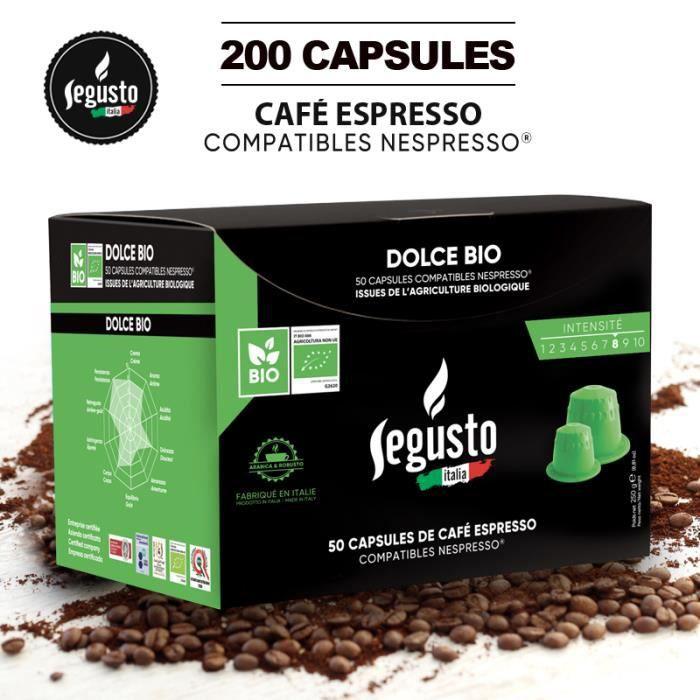 200 CAPSULES DE CAFÉ BIO COMPATIBLES NESPRESSO PAS CHER - CAFÉ SEGUSTO LE MEILLEUR CAFÉ AU MEILLEUR PRIX - INTENSITÉ 8-10. PRD2