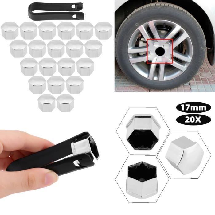 VGEBY Caches-écrous en Plastique 17 mm - Lot de 20 - montage pour la plupart des véhicules