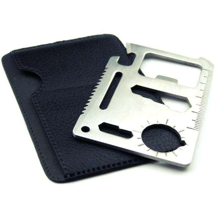 11-en-1 en acier inoxydable multi-fonctionnelle Can Opener Règle Tournevis Clé Survie outil de carte de crédit Outil extérieur