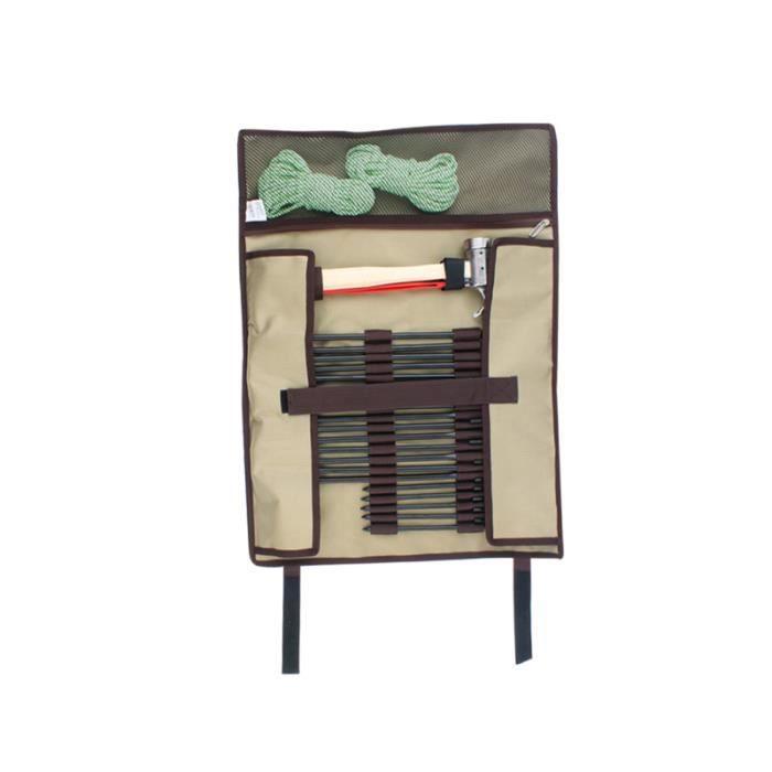 Camping en plein air tente marteau canopy Peg sac de rangement pour ongles Portable Simple Tool Bag Kit (Khaki Size CAMPING TENT