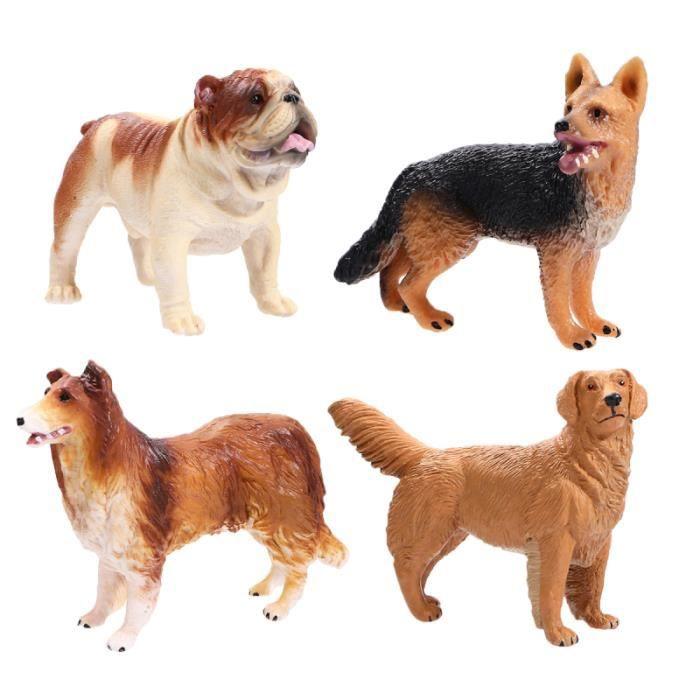 4 pièces maison chien poupées Simulation chiot réaliste Adorable Vivid faux modèle de pour salon chambre cadeau JOUET