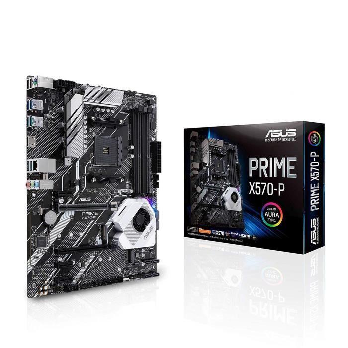 Asus Carte Mère Gaming Prime X570 P Amd Am4 Ryzen 3000 (12 Drmos power stages Pcie 4.0 M.2 Ddr4 Hdmi Cfx Sata Usb 3.2 Gen 2 Aura