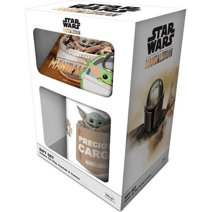 Set Star Wars Mug sous verre et porte-clés Baby Yoda Mandalorian Beige
