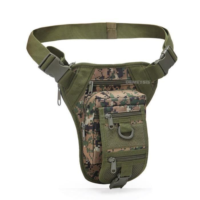 woodland digital -Sac tactique militaire de Combat, sac de jambe de taille réglable, sacs de taille de chasse de randonnée, sacs de