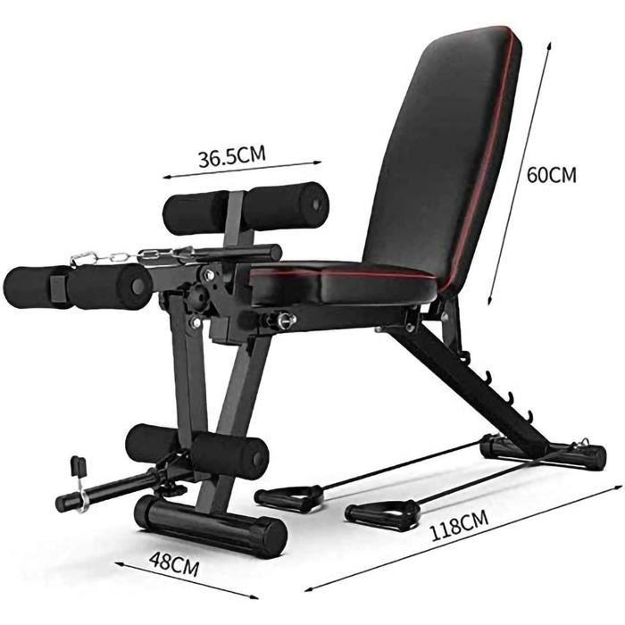 Banc de Musculation Réglable Workout-Solid Body Leg Extension Machine Leg Curl-Banc Olympique Workout Bench Press-Tabouret Halt[60]