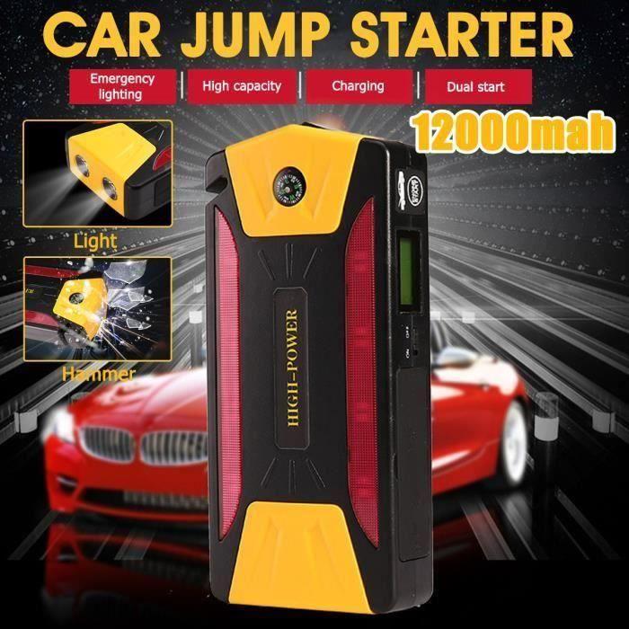 Démarreur Batterie Chargeur Kit pour Voiture 12000mAh 12V PRISE US Fe66468