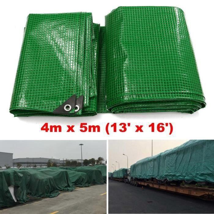 NEUFU Bâche Dessus Camping Couverture Protection Tissé Vert Étanche Articles 4m x 5m