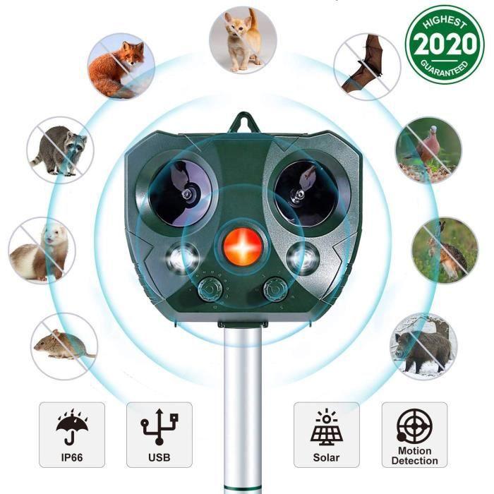 Répulsif Chat Ultrason,Solaire Répulsif Anti Chats Imperméable avec Alarme et Lumières Clignotantes pour Repousser Animaux Nuisibles