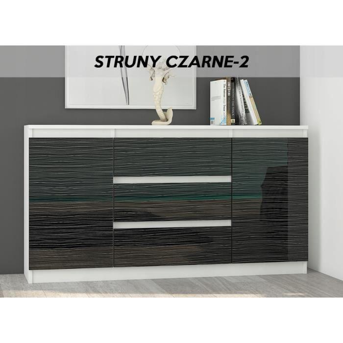 ALBI W2 - Commode contemporaine 3 tiroirs - 140x40x76 cm - Meuble rangement chambre/salon/bureau - Buffet Finition Laquée -