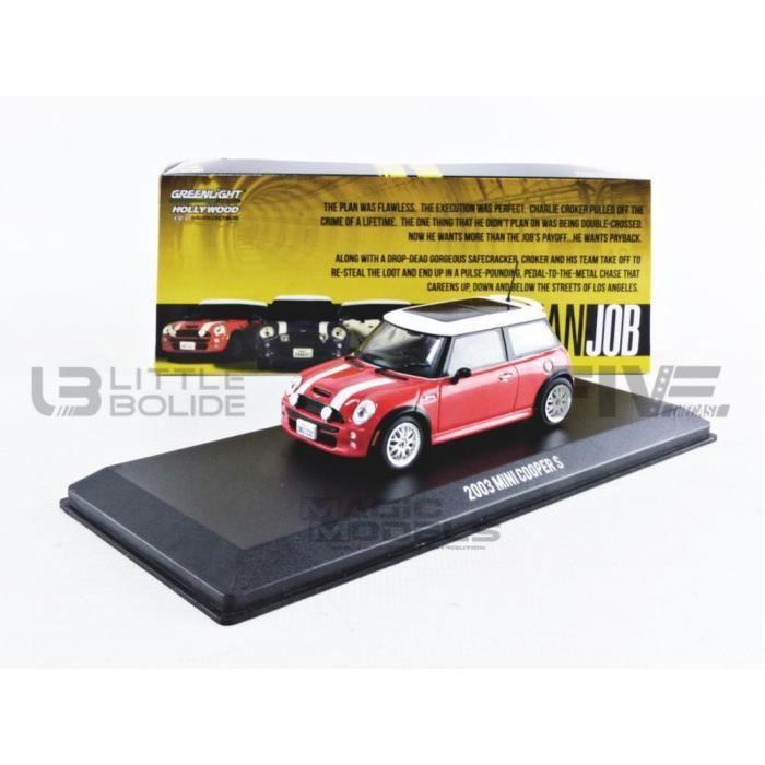 Voiture Miniature de Collection - GREENLIGHT COLLECTIBLES 1/43 - MINI (NEW) Mini Cooper S - The Italian Job 2003 - Red / White -