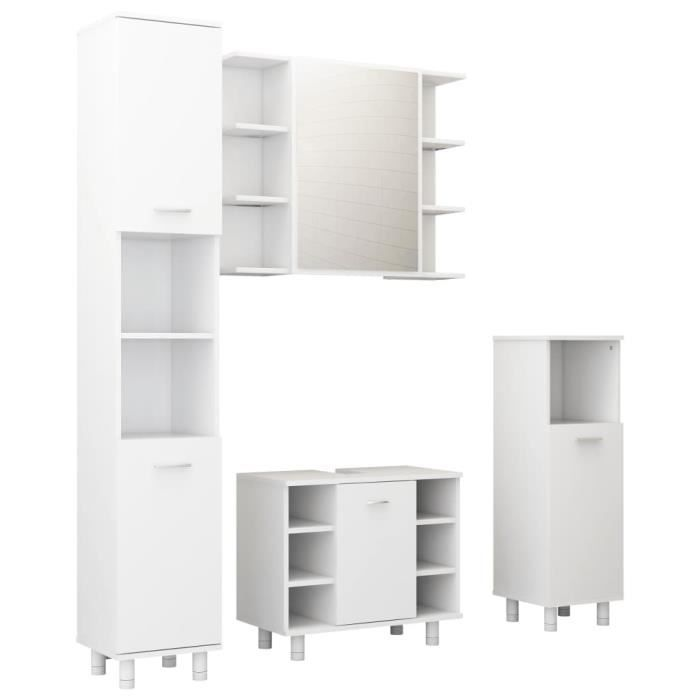 Meilleurs® 12981 Ensemble Mobilier de salle de bain - Ensemble de meubles de salle de bain 4 pcs Blanc Aggloméré Meuble de rangement