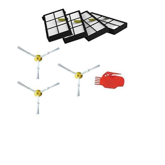 STOEX®2Brosses latérales et Filtre HEPA et Outils de nettoyage de rechange pour aspirateur iRobot Roomba 800 900 Series 860 870 880