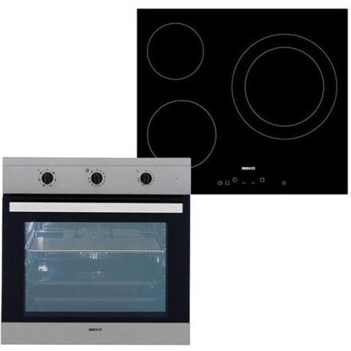 Combiné four et plaques vitro-céramiques BEKO 202045 65 L TouchControl Inox Acier Noir Multicolore