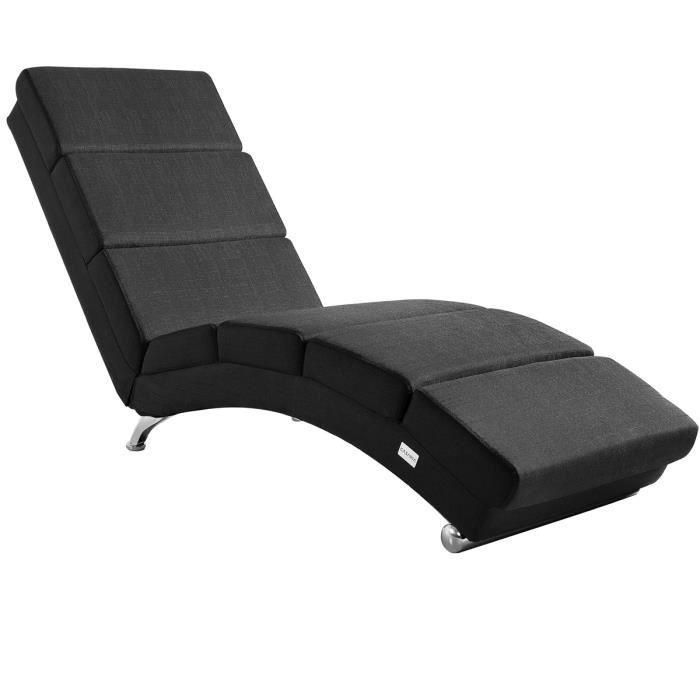 Casaria - Méridienne « London » • Chaise de Relaxation • Chaise Longue d'intérieur • Design - Ergonomique Pieds chromés anthracite